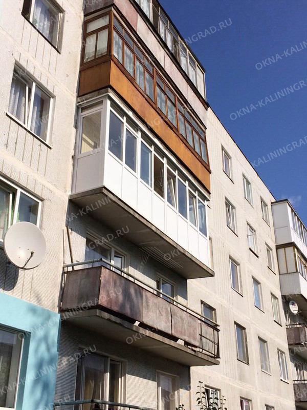 Остекление и ремонт балкона под ключ размером 6 метров. отче.
