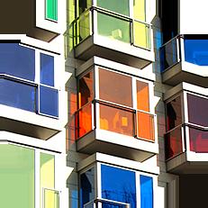Почему стекла должны быть только прозрачными? Выберите нужный вам цвет стекла и наслаждайтесь уникальным дизайном вашего балкона