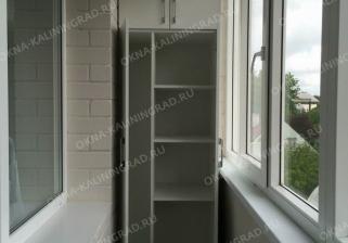 Отделка балкона под ключ с изготовлением встроенного шкафа. Калининград